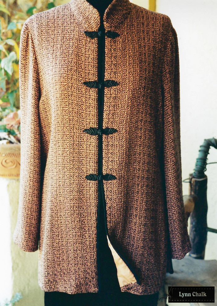 Handwoven Silk and Rayon Jacket with Mandarin Collar.  Yarns were hand dyed before fabric was woven.   Jacket woven, designed and sewn by Lynn Chalk.