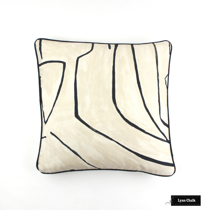 ON SALE Kelly Wearstler Graffito Pillows in Linen/Onyx with Black Welting (20 X 20-Front in Graffito with Natural Linen Back) Only 2 Pillows Remaining at this Sale Price