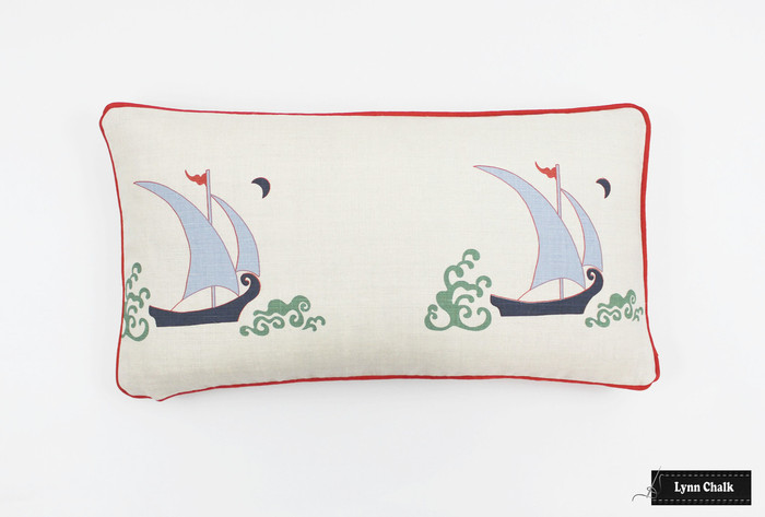 Katie Ridder Beetlecat Pillow in Lavender (12 X 22) with Tomato Red Welting