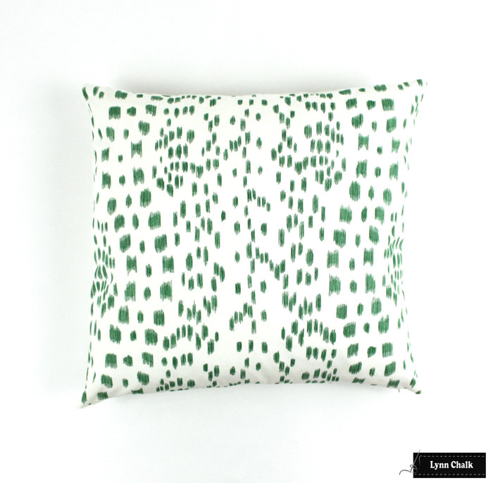 ON SALE Brunschwig & Fils/Lee Jofa Les Touches Green Pillows (18 X 18) Only 1 Pillow Remaining At This Sale Price