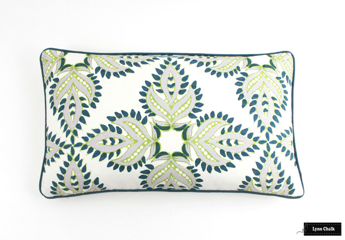 ON SALE John Robshaw Diba Peacock Pillows with Contrasting Welting in Robert Allen Milan Solid in Cove (14 X 24) There is only 1 Pillow Remaining at This Sale Price
