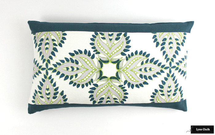 ON SALE John Robshaw Diba Peacock Pillows with Contrasting Border in Robert Allen Milan Solid in Cove (14 X 24) There are only 2 Pillows Remaining at This Sale Price