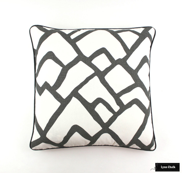 "ON SALE Schumacher Zimba in Charcoal Pillow 24 X 24"" with Charcoal Grey Welting - Only 2 Remaining at this Sale Price"
