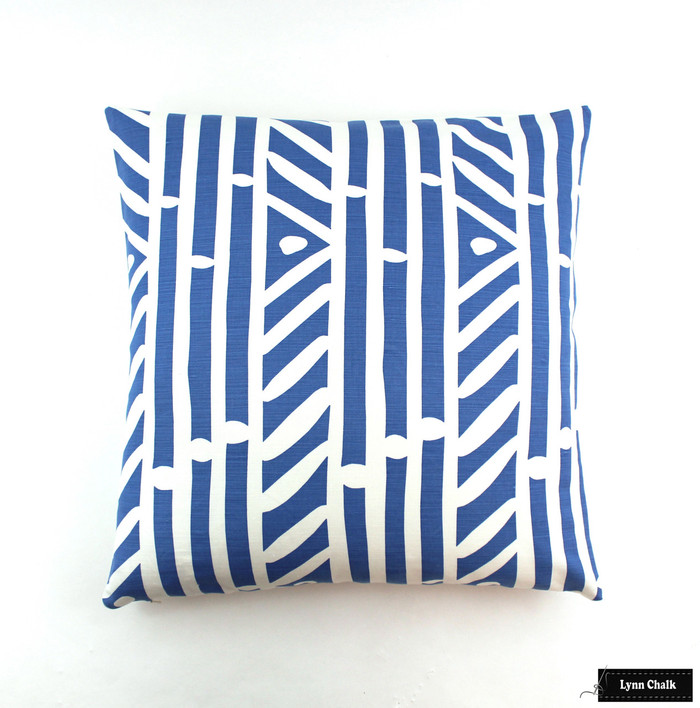 ON SALE Quadrille Candu French Blue on White Pillows - Front in Candu, Back in Neutral Linen (Only 2 -24 X 24 at this Sale Price)