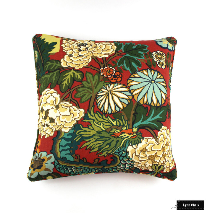 ON SALE Schumacher Chiang Mai Dragon Pillow in Lacquer Red with Welting (Both Sides-24 X 24) Only 2 Pillow Available at the Sale Price