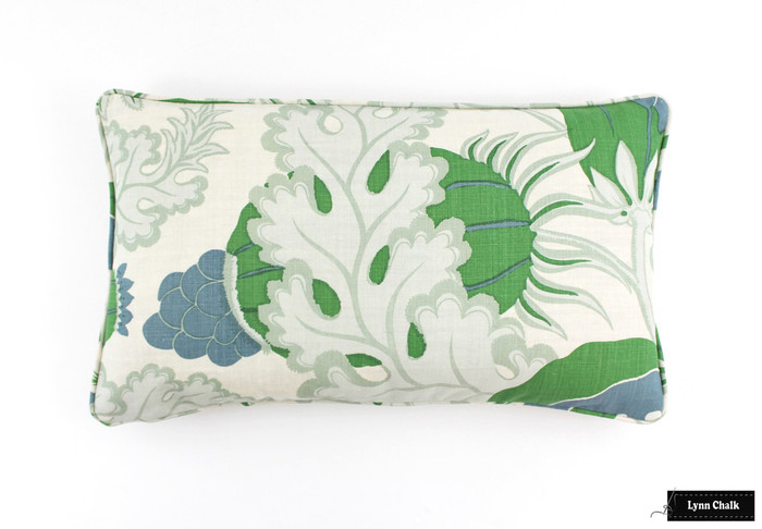 ON SALE Christopher Farr Carnival Green Pillows with Welting/Piping (14 X 24) Only 2 Remaining