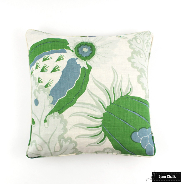 ON SALE Christopher Farr Carnival Green Pillows with Welting/Piping (18 X 18) Only 1 Available in this size