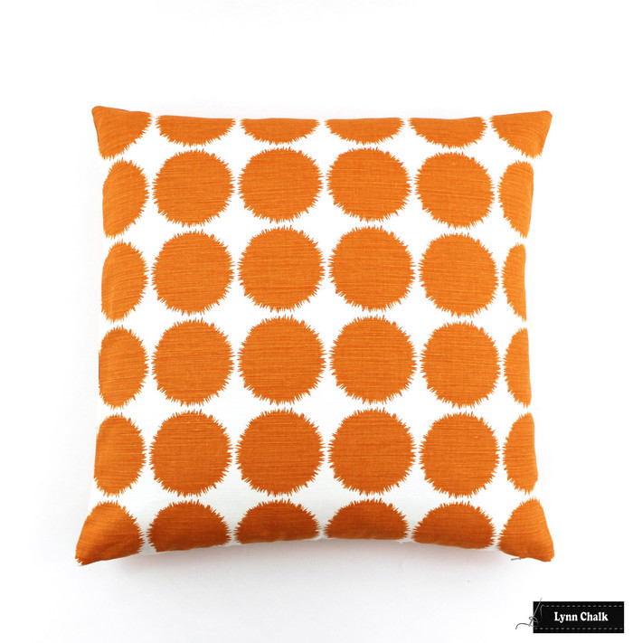 ON SALE Schumacher Fuzz 22 X 22 Pillows in Orange (Both Sides) Only 2 Pillow Remaining at this Sale Price
