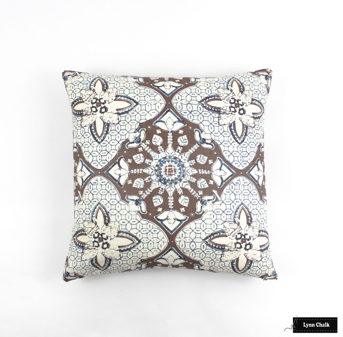 ON SALE Quadrille New Batik Knife Edge Pillows in New Brown/New Navy (Both Sides-21 X 21) Only 4 Pillow Available at this Sale Price