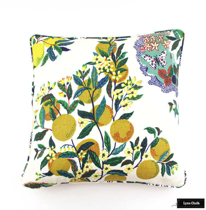 Custom Pillow In Citrus Garden Primary with self welting (24 X 24)