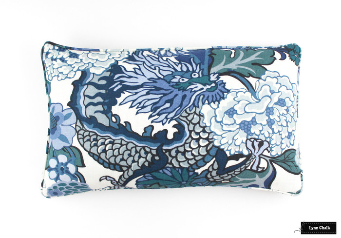 ON SALE Schumacher Chiang Mai Dragon Pillow in China Blue with Welting (Both Sides-14 X 24) Only 3 Pillows Available at the Sale Price