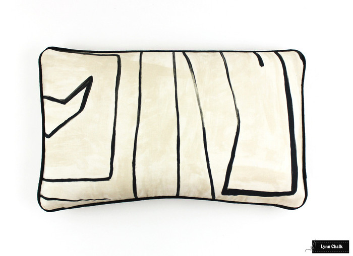 ON SALE Kelly Wearstler Graffito Pillows in Linen/Onyx on Both Sides with Black Welting (Only 1 -12 X 20 Pillow Remaining at this Sale Price)