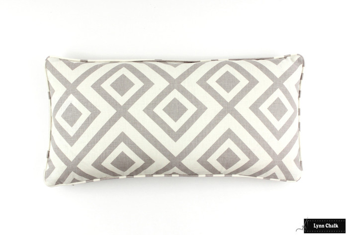 ON SALE David Hicks/Lee Jofa La Fiorentina Pillows on both sides with self welting in Light Grey/Ivory (12 X 24) (only 1 remaining)