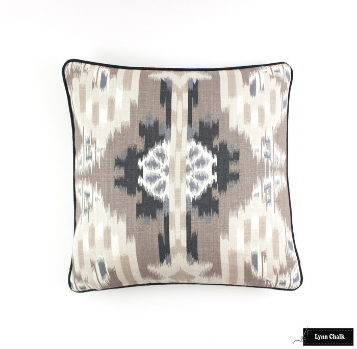 Pillows in Kiribati Ikat in Linen with Black Welting (18 X 18)