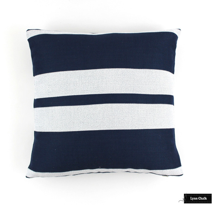 ON SALE Perennials Little Big Stripe Pillows Indoor/Outdoor in Blueberry (16 X 16) Only 1 Remaining at this Sale Price