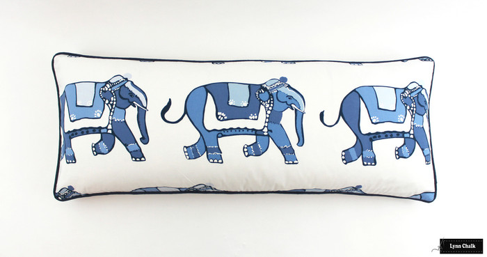 ON SALE Lulu DK for Schumacher Parade 14 X 36 Pillow with Navy Blue Welting (Only 1 Remaining at this Sale Price)