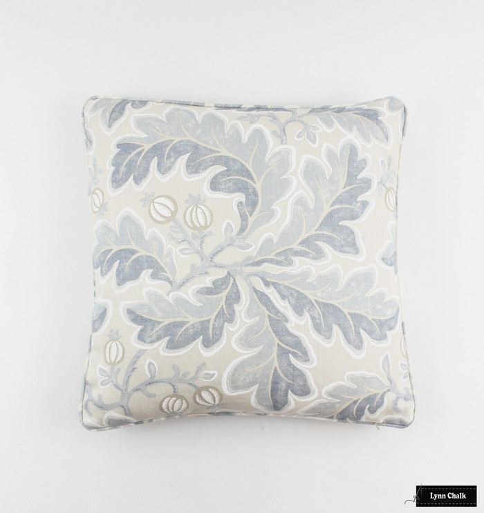 ON SALE Colefax and Fowler Melbury in Blue #3824-02 Pillow (Both Sides with Welting 20 X 20)