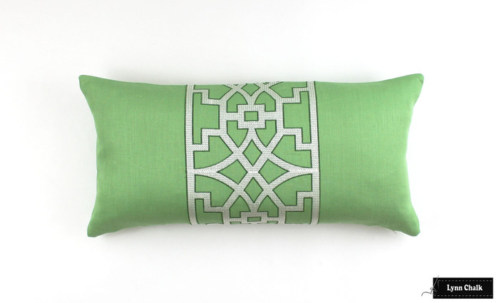 "ON SALE Schumacher Mary McDonald Don't Fret in Lettuce 12"" X 24"" Lumbar Pillow"