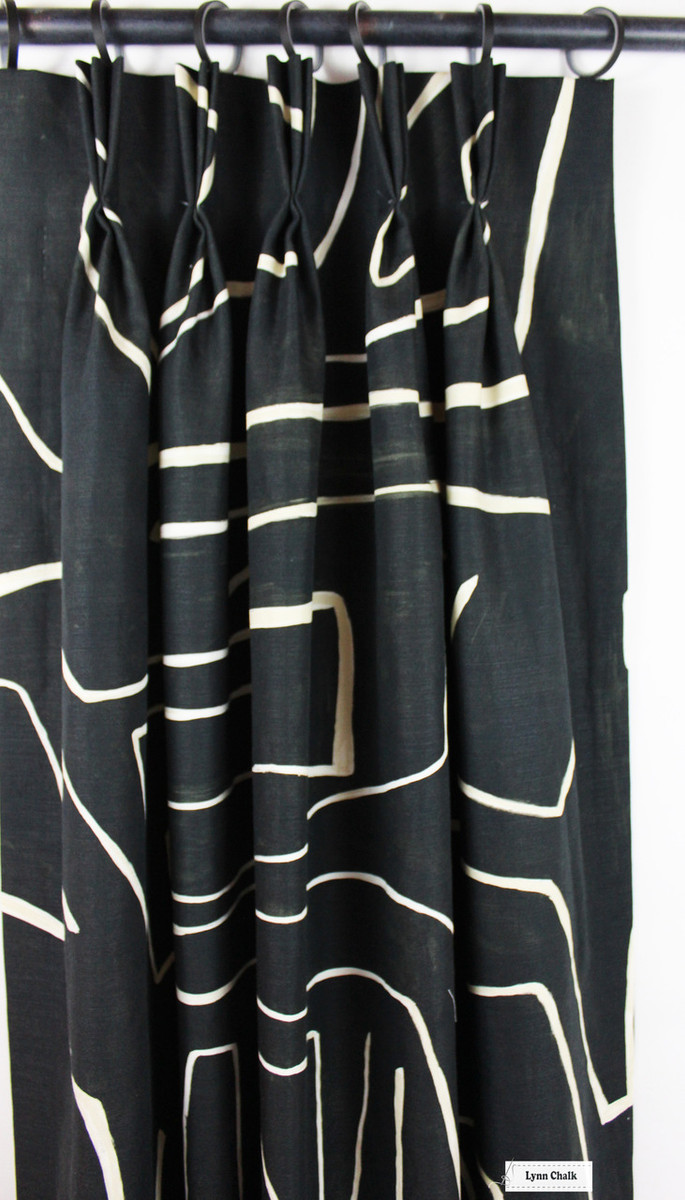 Kelly Wearstler Graffito Drapes (shown in Onyx/Beige-comes in several colors)