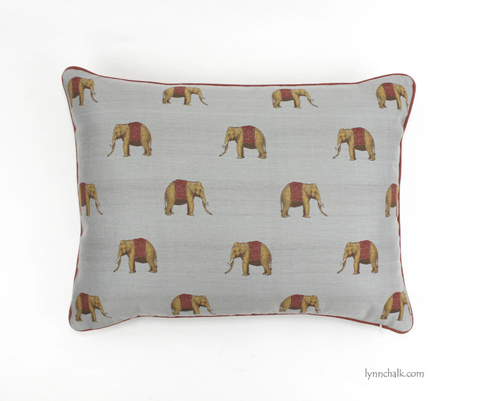 ON SALE Robert Allen Wild Journey Elephants in Rain with Copper Welting (made to order - choice of sizes)