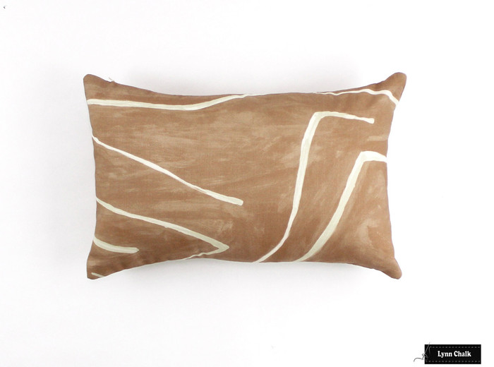 ON SALE Kelly Wearstler Graffito Pillows in Salmon/Cream (Both Sides - 12 X 20)