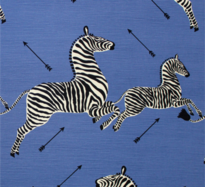 Scalamandre Zebras Fabric in Denim