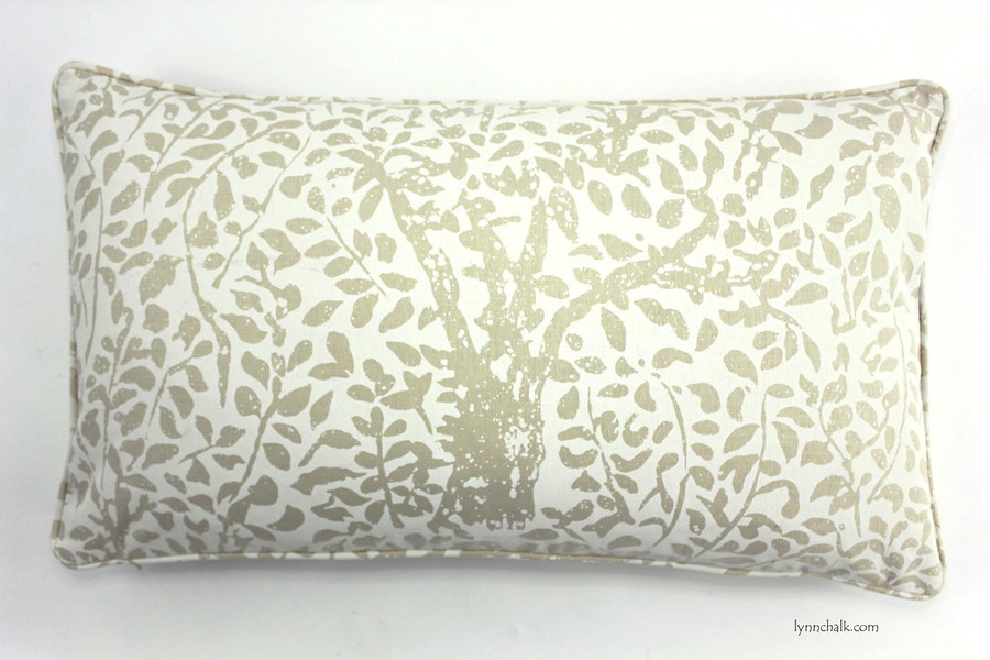 Custom Pillow in Arbre De Matisse Reverse Ecru on Tint with self welting (14 X 24)