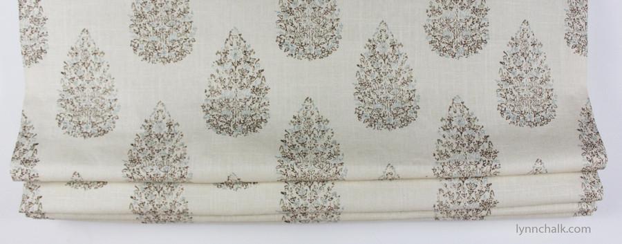 Custom Roman Shade by Lynn Chalk in John Robshaw Kedara for Duralee 21040-680 Aqua Cocoa