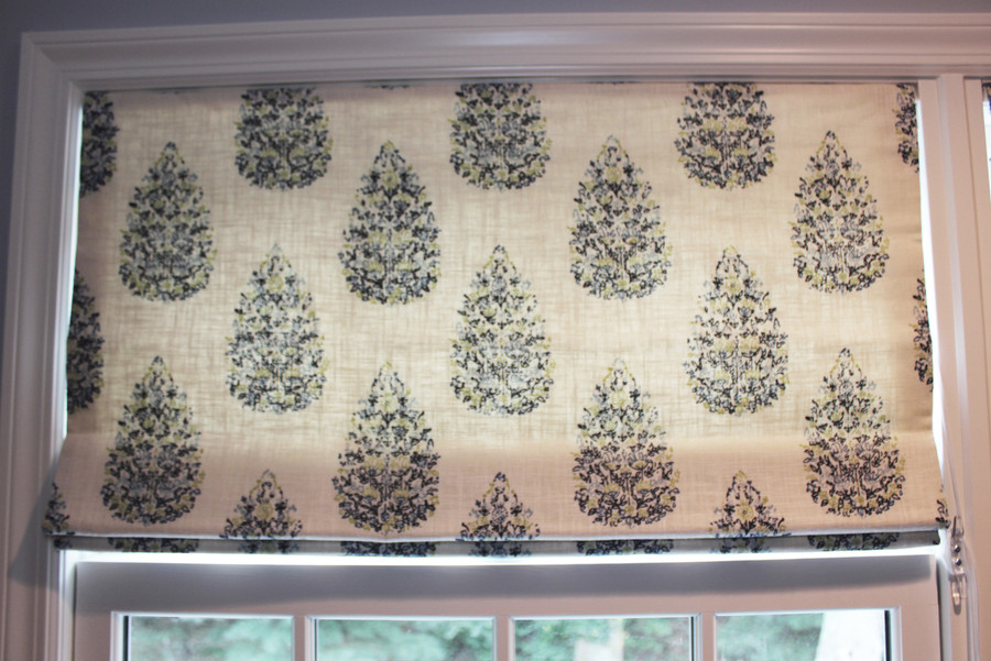 Custom Roman Shade by Lynn Chalk in John Robshaw Kedara for Duralee 21040-72 Blue Green