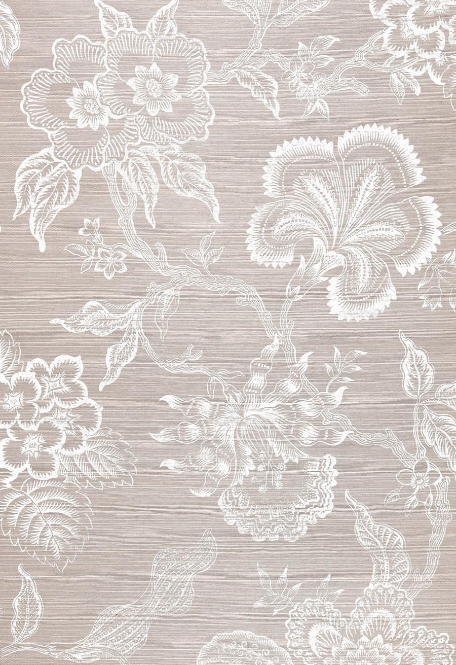 Celerie Kemble Hothouse Flowers Wallpaper in Haze & Chalk