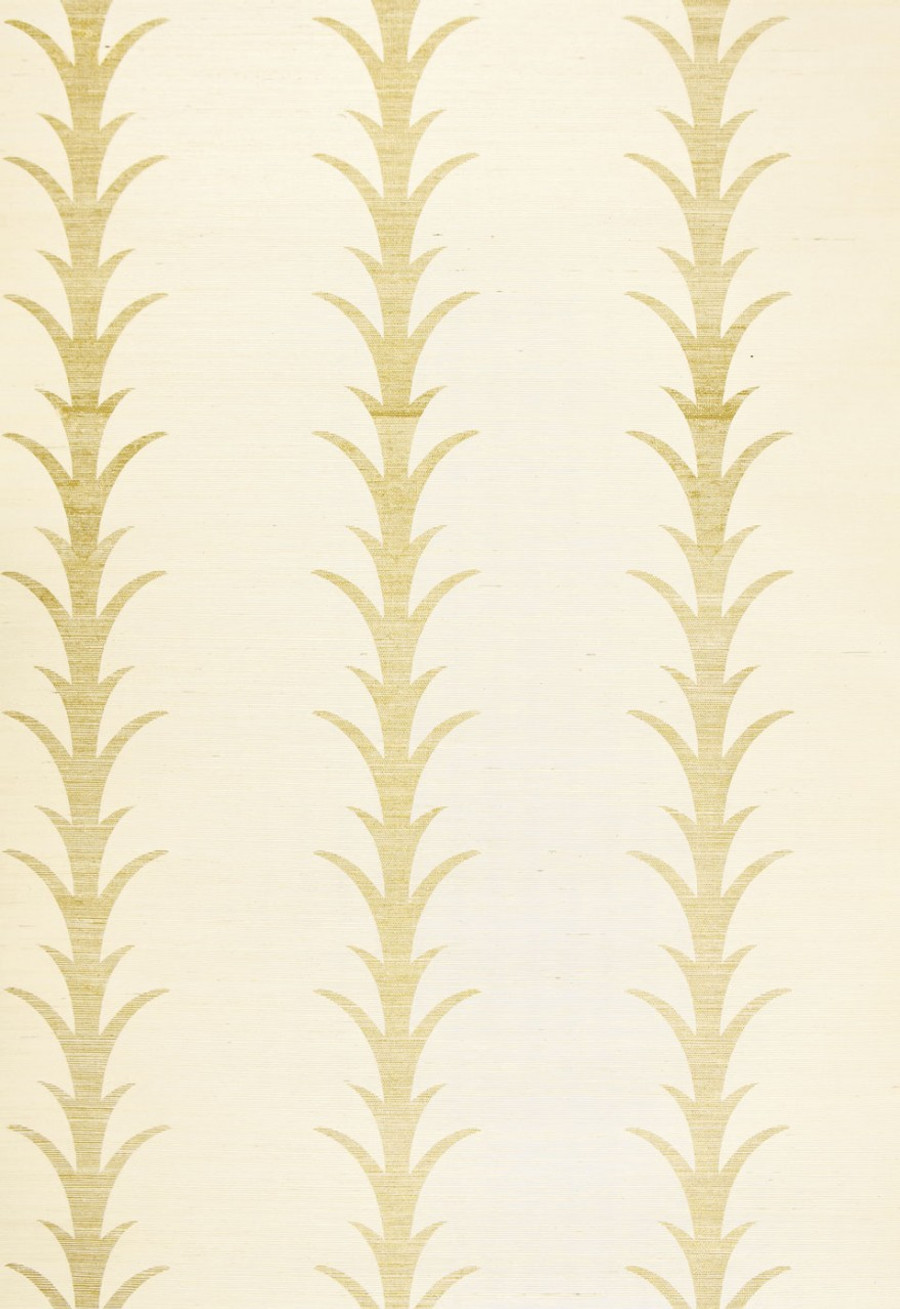 Celerie Kemble for Schumacher Acanthus Stripe Filigree Wallpaper (Priced and Sold by the Yard. Must order in 8 yard increments.  Minimum Order is 8 yards.)