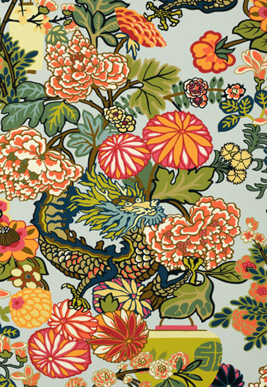 Schumacher Chiang Mai Dragon Aquamarine Wallpaper 5001060