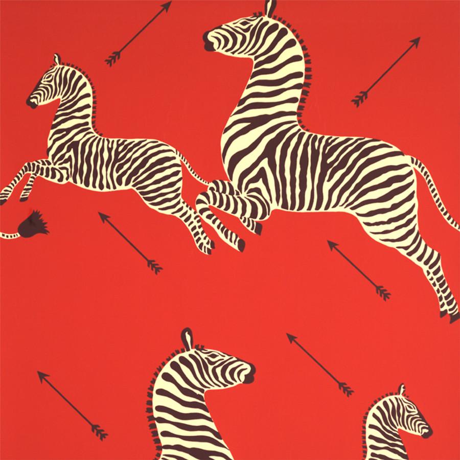 Scalamandre Zebras Wallpaper Masai Red
