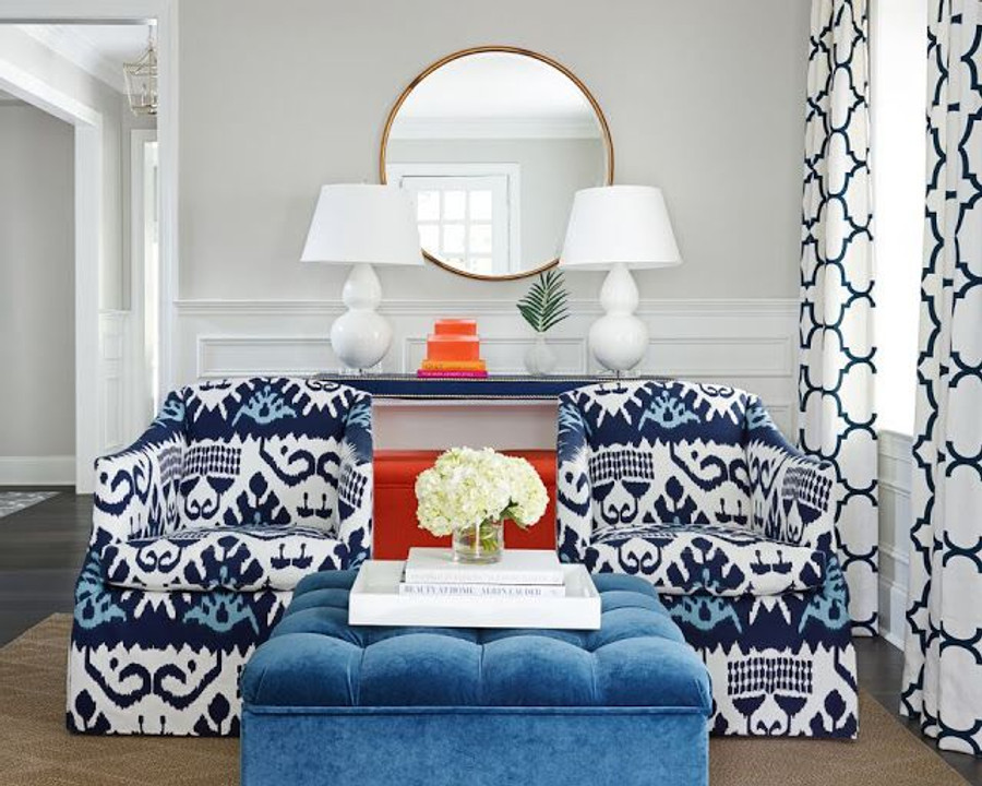 Chairs in Quadrille Kazak and Drapes in Windsor Smith Riad in Indigo (Stephanie Krauss Design)