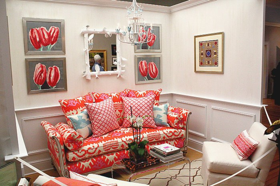 Sofa in Kazak in Orange Pink (Connecticut Cottages and Gardens)