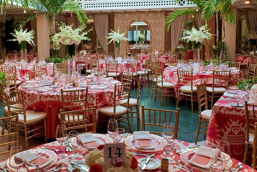 Tablecloths in Kazak in Orange Pink