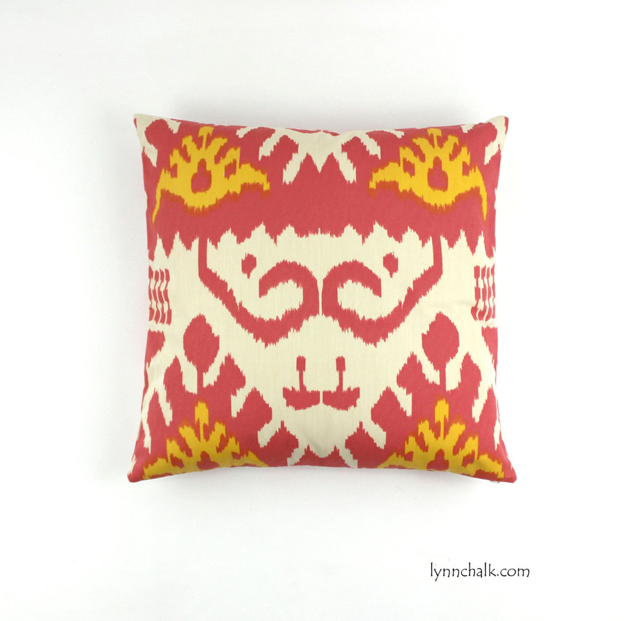 "Custom Pillow by Lynn Chalk in Quadrille Kazak (Shown in Coral and New Yellow 20"" X 20"")"