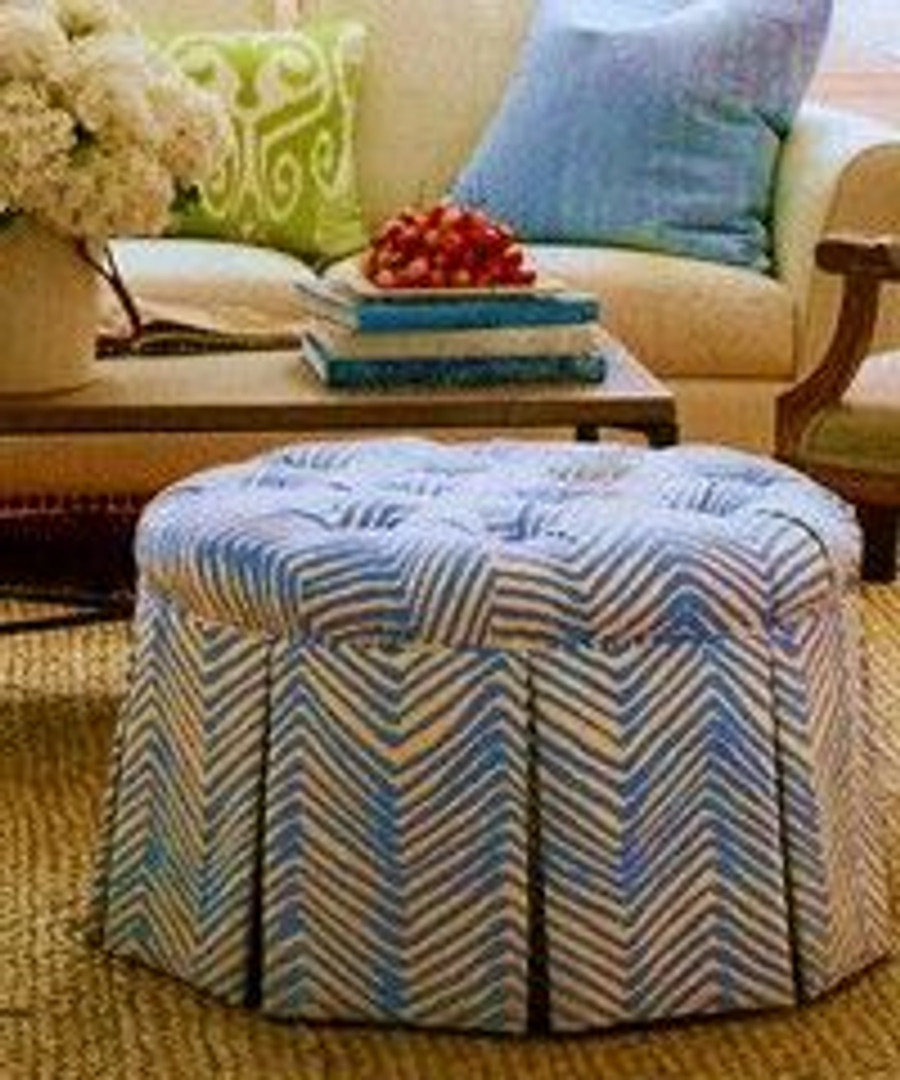 Round Tufted Ottoman in Quadrille Zig Zag in French Blue