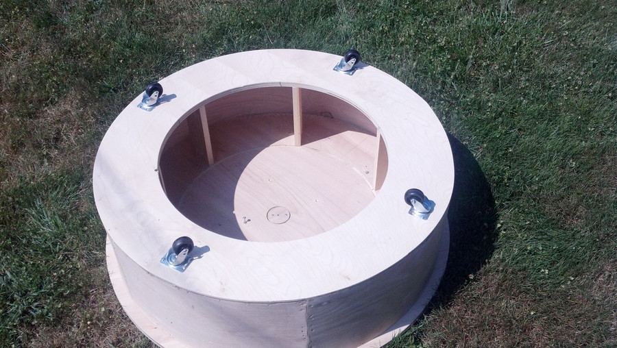 Base is hand constructed in Birch.  This is the bottom of the base (Flipped upside down) before covering.
