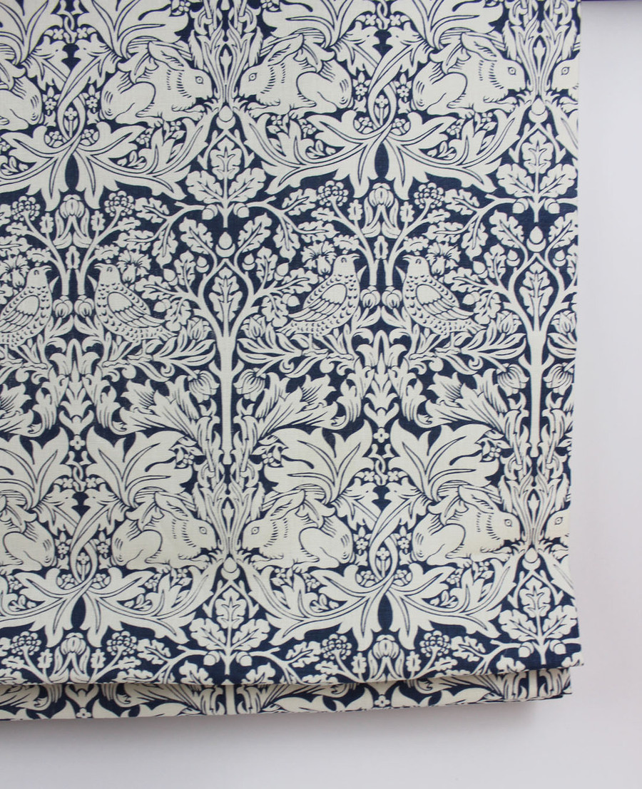 Mock Roman Shade in Robert Kime Brother Rabbit Blue