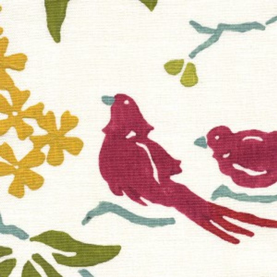 Birds in Pink White on Linen