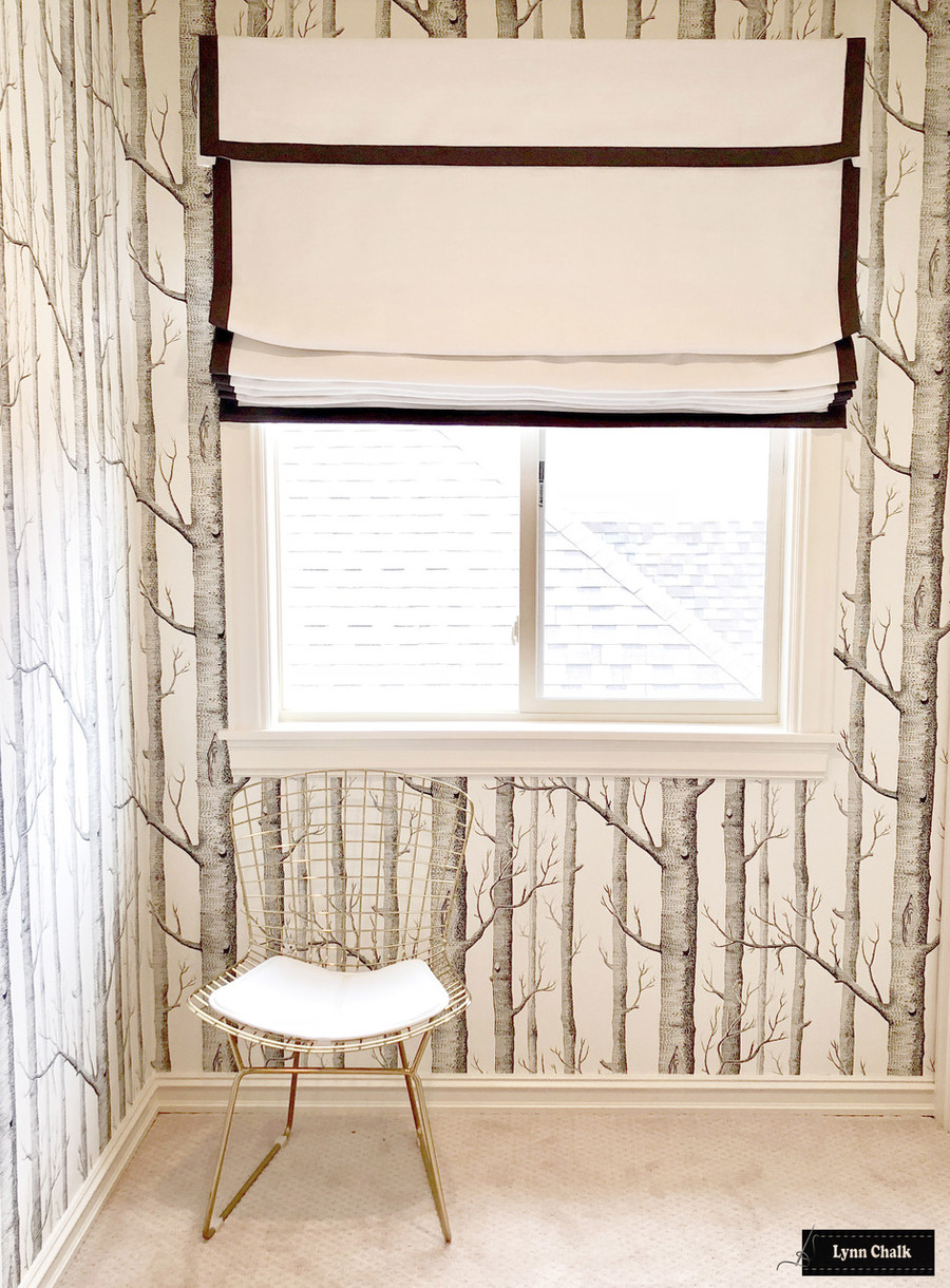 Roman Shade in White Linen with Self Valance with Samuel & Sons Trim in Granite Lynn Chalk
