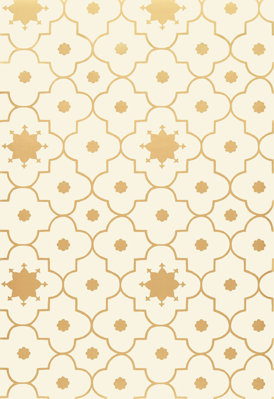 Martyn Lawrence Bullard Wallpaper Taj Trellis in Burnished Gold