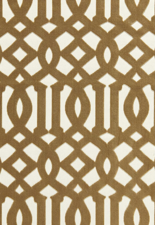 65594 Schumacher Kelly Wearstler Fabric Imperial Trellis Velvet Fawn