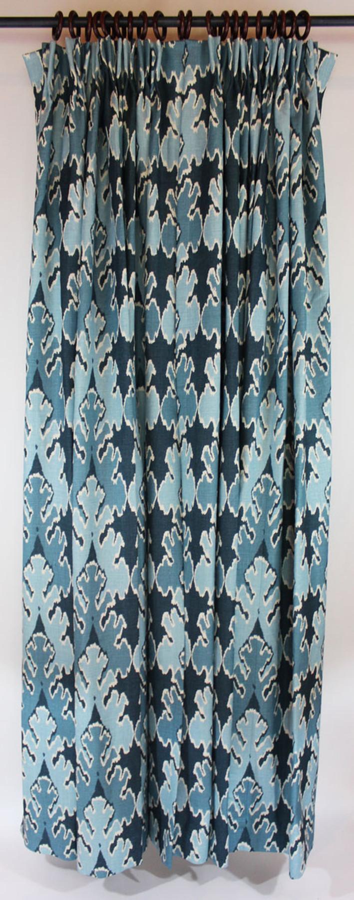 One pair of pleated drapes in Kelly Wearstler Bengal Bazaar Teal
