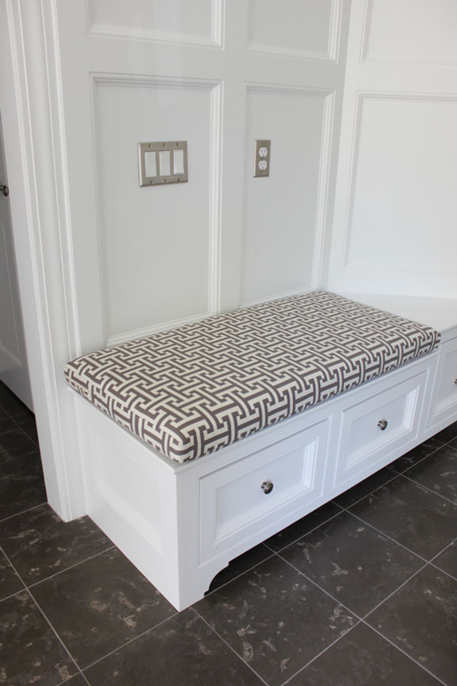 Custom Cushion by Lynn Chalk in Holly Hunt Insigna Cream/Iron 124/03