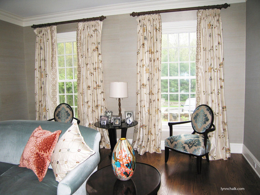 Custom Pleated Drapes Double Width in Cowtan & Tout Chinois Border in Multi/Ivory