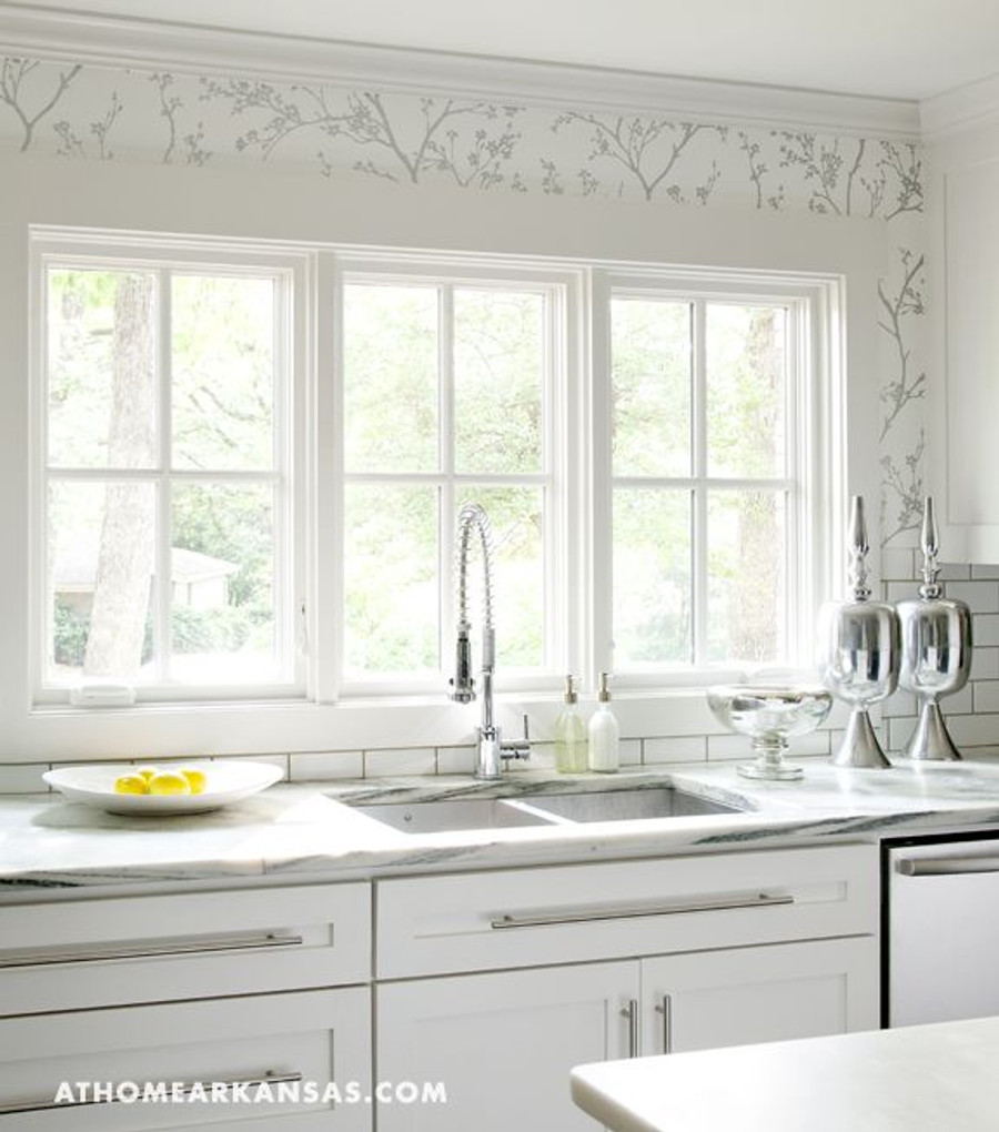Attrayant Kitchen Walls In Schumacher Twiggy Wallpaper In Silver Available In Other  Colors (At Home Arkansas)