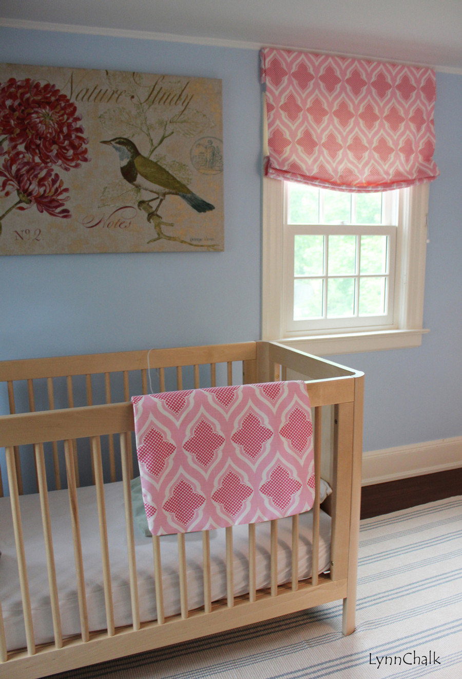 Relaxed Roman Shades in Christopher Farr Venecia in Hot Pink