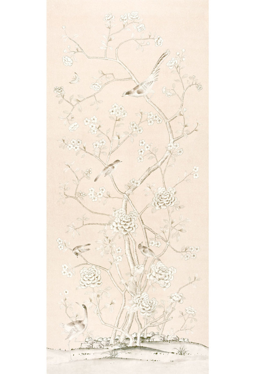 Chinois Palais Wallcovering by Mary McDonald in Blush Conch